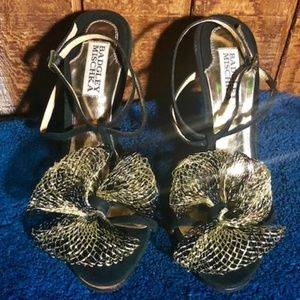 Badgley Mischka Black Suede Heels w/ Gold Wire Bow